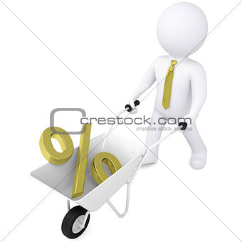 3d man carries wheelbarrow the golden percentage