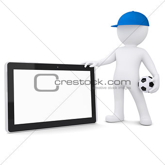 3d white man with soccer ball and tablet PC