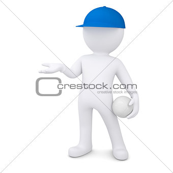 3d man with volleyball ball holds out empty hand