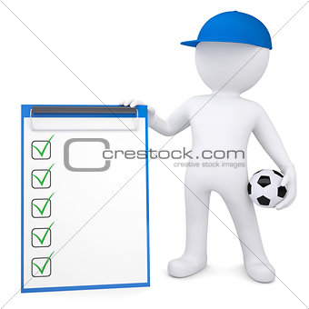 3d white man with soccer ball and checklist