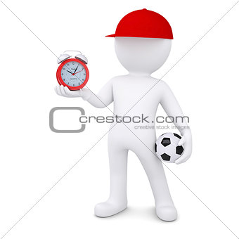 3d white man with soccer ball and alarm clock