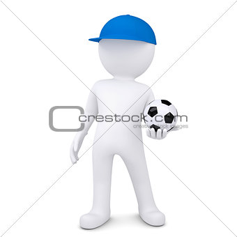 3d white man with soccer ball