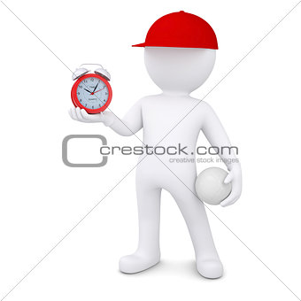 3d man with volleyball ball holding alarm clock
