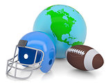 Earth, football helmet and ball