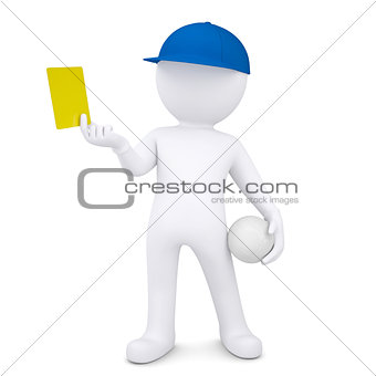 3d man with volleyball ball shows yellow card