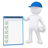 3d man with volleyball ball holding checklist