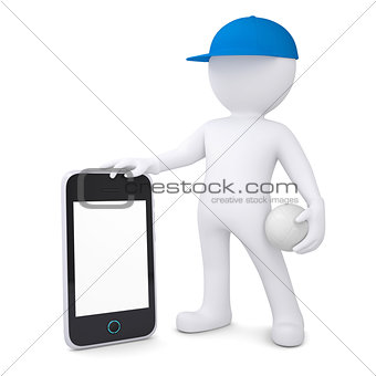 3d man with volleyball ball holding smartphone
