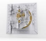 Bank vault door on gray wall