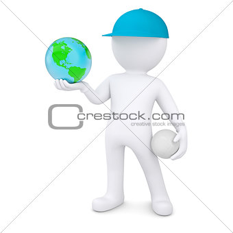 3d man with volleyball ball holding the Earth