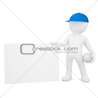 3d man with volleyball hold empty business card