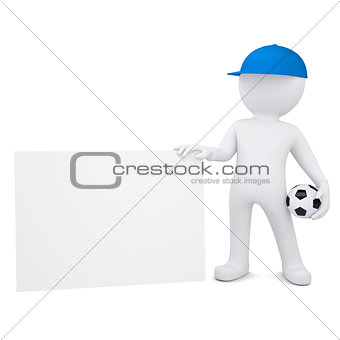 3d man with soccer ball hold blank business card