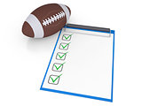 Checklist and football ball