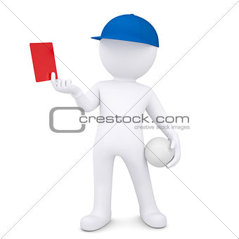 3d white man with volleyball ball shows red card