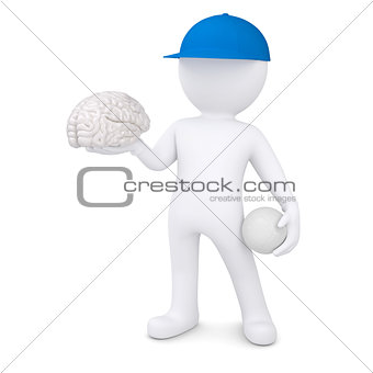 3d white man with volleyball ball keeps the brain