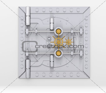 Bank vault door on gray wall