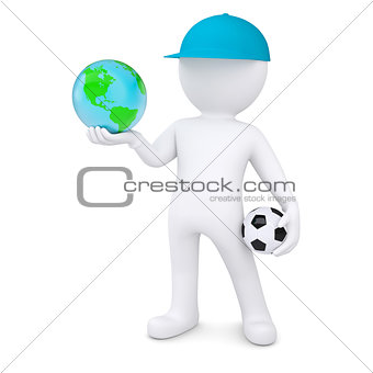 3d white man with soccer ball holding the Earth