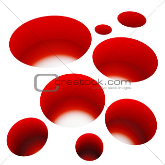 abstract red holes on a white background