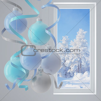 blue christmas balls in an environment of ribbons on a window background