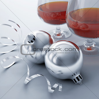 Christmas balls, ribbon and glasses with alcohol drinks