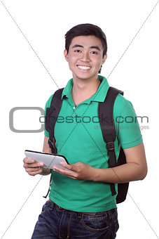 Asian man holding a digital touch screen tablet computer on white background.