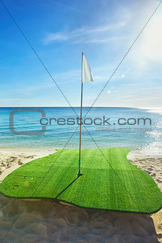 Gold driving range on beach