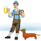 Bayer with beer and dachshund
