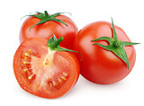 Red tomato vegetable with cut on white