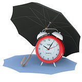 Umbrella covers the alarm clock