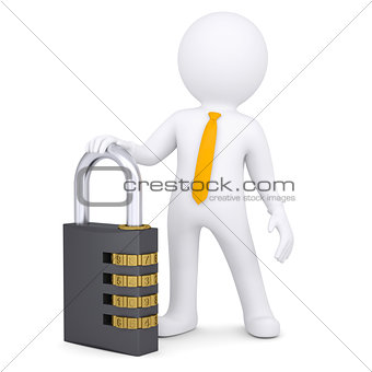 3d white man with the combination lock