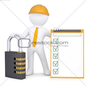3d man in helmet with lock and checklist