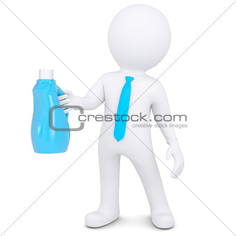 3d white man with bottle of household chemicals