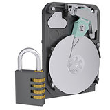 Code lock next to the hard drive