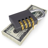 Combination lock on a pack of dollars