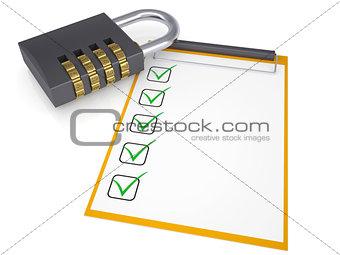 Combination lock and checklist