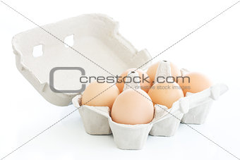 Six eggs on a carton box over white