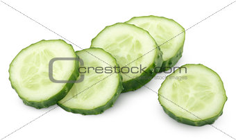 Slice of green cucumber isolated on white
