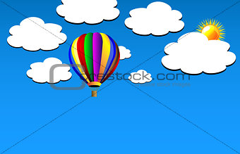Vector hot air balloon on sky