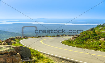 Cadillac Mountain drive in Acadia National Park, Maine in a clea