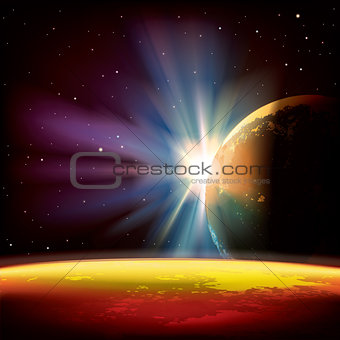 abstract background with planets and stars