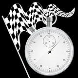 Black background with checkered flag and stopwatch