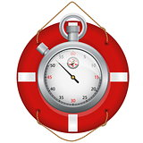 Red life preserver with stopwatch