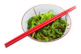 seaweed salad in ceramic bowl
