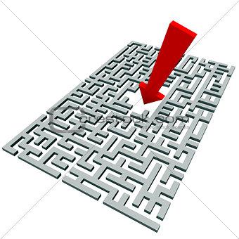 arrow over a labyrinth