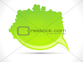 abstract shiny green floral chat icon