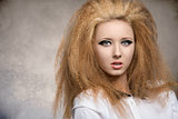 girl with great hairstyle in close-up portrait