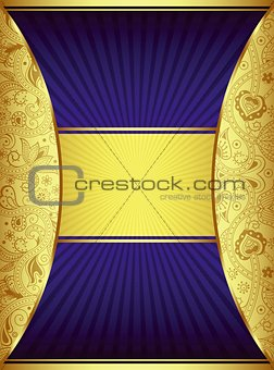 Abstract Gold and Blue Curve Background
