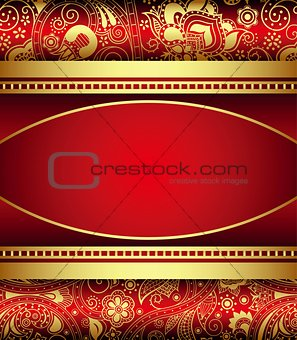 Abstract Gold and Red Floral Frame