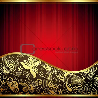 Abstract Gold and Red Curve Background