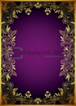 Abstract Gold and Purple Curve Background