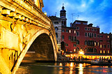 Rialto Bridge and Grand Canal in Venice, Italy